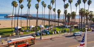 Santa Barbara, California, Downtown, ocean front, beach, trolley, ocean
