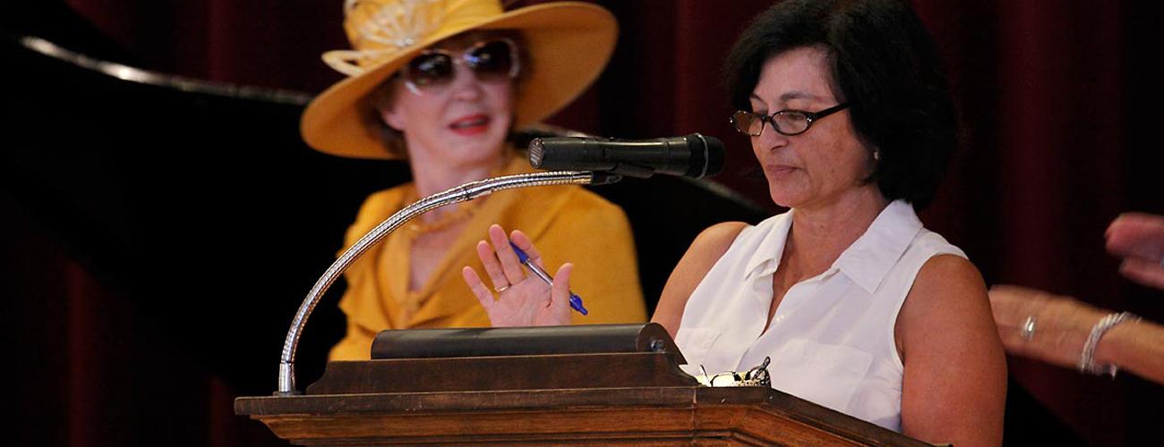 Louise McKaig speaking at Santa Barbara event