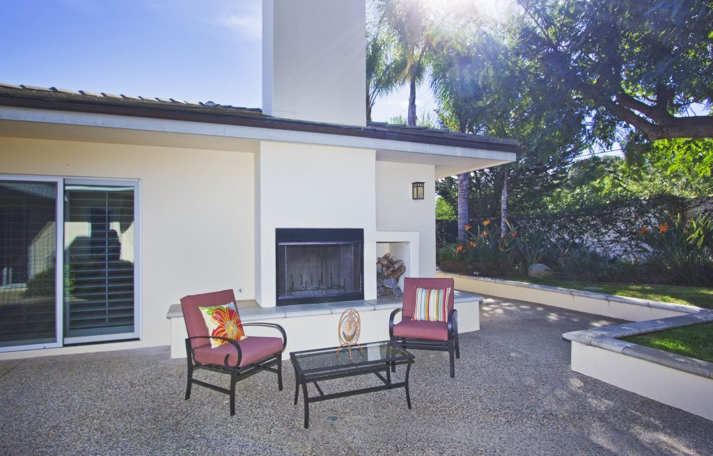 outdoor fireplace, santa barbara house, montecito home for sale, santa barbara backyard