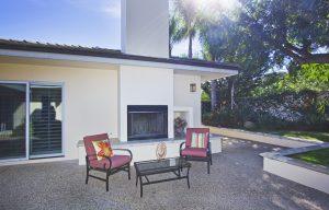 outdoor fireplace, santa barbara house, montecito home for sale, santa barbara backyard