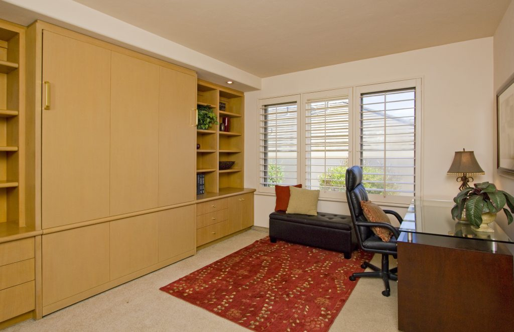 Luxury murphy bed, santa barbara real estate, montecito house, real estate, santa barbara home office, custom office