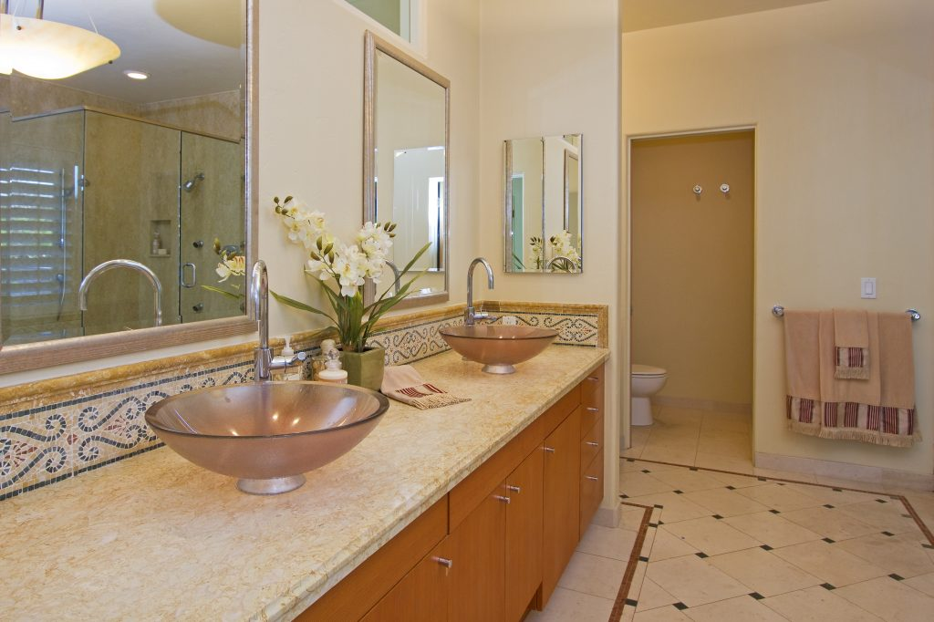 master bathroom, luxury sinks, custom designed, don nulty, village properties, santa barbara architecture,
