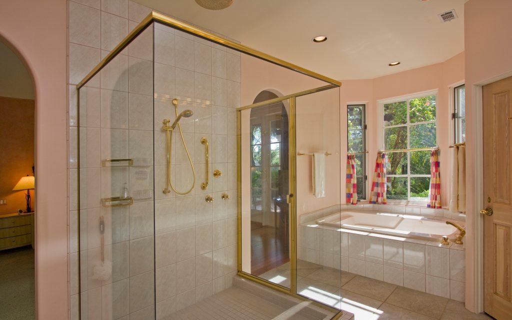 custom bathroom design, santa barbara shower, glass shower door