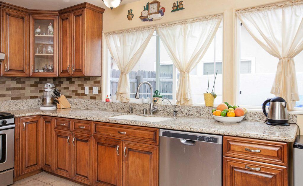 sink, granite counters, kitchen