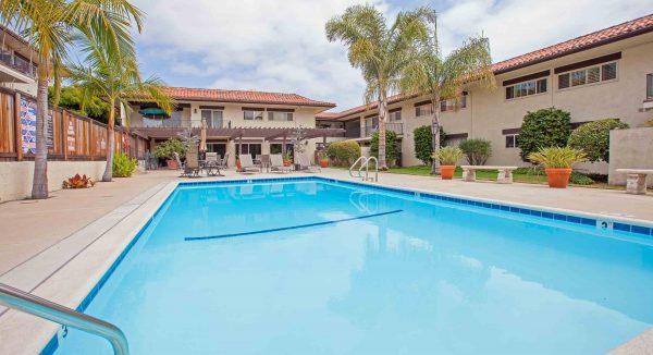 pool view from condo in santa barbara