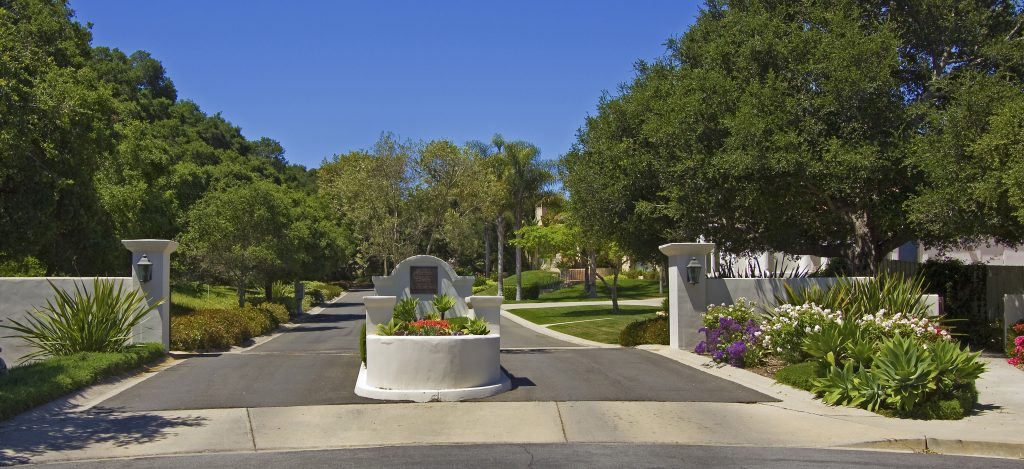 entrance gate of luxury community in santa barbara, santa barbara neighborhood