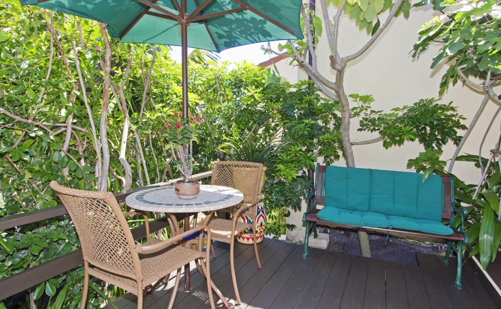 shade, trees, patio, garden, wood, table, real estate, santa barbara, montecito, real estate